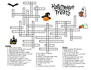 Halloween Crossword Puzzle - Candy