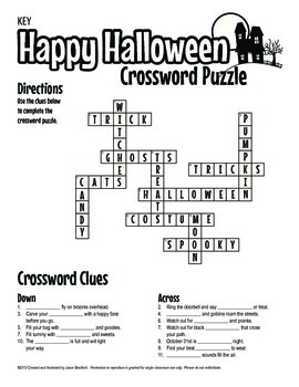 Halloween Crossword Puzzle Printable Activity