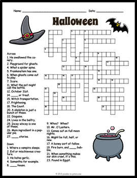 Free Halloween Crossword Puzzle Worksheet 4 Versions By Puzzles To