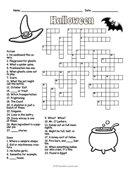 image regarding Halloween Crossword Puzzle Printable identified as Cost-free Halloween Crossword Puzzle Worksheet - 4 Models