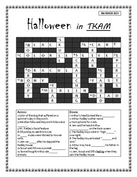 Halloween Crossword Puzzle for To Kill a Mockingbird