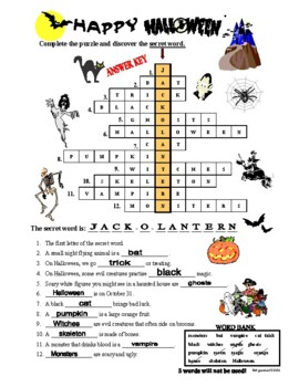 Halloween Crossword Puzzle with a SECRET WORD by Agamat   TpT