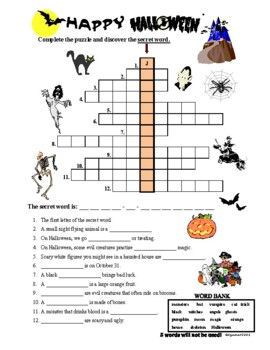 Halloween Crossword Puzzle with a SECRET WORD