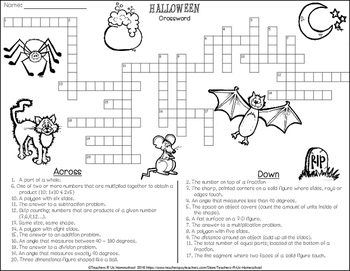 Halloween Crossword & Word Search (3rd - 5th Math)