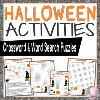 Halloween Activities Crossword Puzzle and Word Search Find