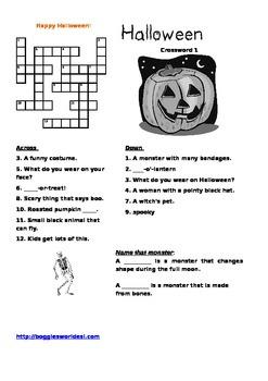 Halloween Crosswords w/pictures & Spanish translation