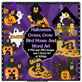 Halloween Crows Clip Art and Word Art Set