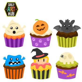Halloween Cup Cakes Clip Art - Great for Art Class Projects!