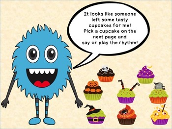 Halloween Cupcake Rhythms Half Note
