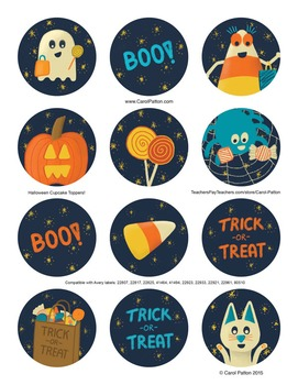 Halloween Cupcake Toppers or Stickers