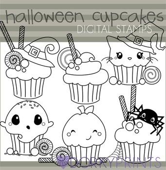Halloween Cupcakes Blackline Clip Art