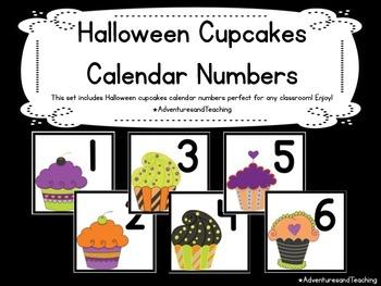 Halloween Cupcakes Calendar Numbers