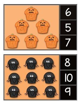 Halloween Cupcakes Clip It! Numbers 1-10 FREEBIE!