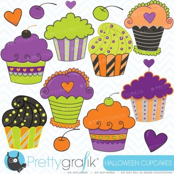 Halloween Cupcakes, clipart commercial use, vector graphics - CL353