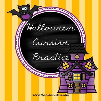 Halloween Cursive Handwriting Worksheets (freebie)