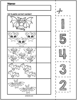 halloween bats cut match worksheets numbers 1 5 by prekautism. Black Bedroom Furniture Sets. Home Design Ideas