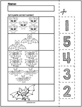 Halloween Bats Cut & Match Worksheets   Numbers 1-5