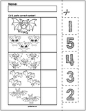 Halloween Bats Cut & Match Worksheets | Numbers 1-5