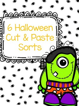 Halloween Parts of Speech Cut and Paste Sorts