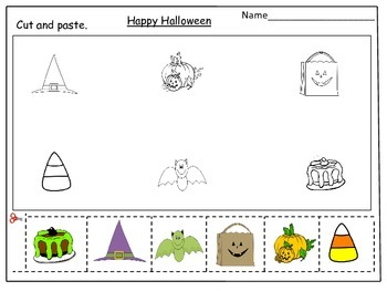 Halloween Cut and Paste Activity Worksheets: