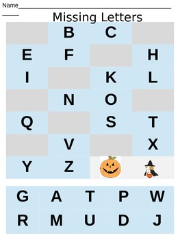 Halloween Cut and Paste Missing Letters Activity
