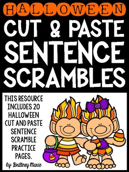 Halloween Cut and Paste Sentence Scrambles