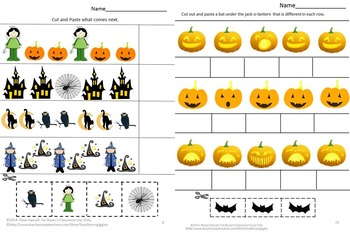 Halloween  Cut and Paste Worksheets P-K,K, Special Education, Autism