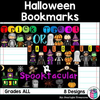 Halloween Cut n' Color Bookmarks: Black and White AND Full Color