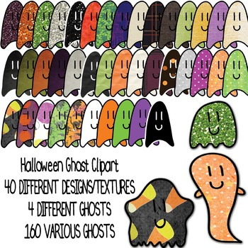 Halloween Cute Ghost Clipart - 164 GRAPHICS - Glitter / Paper