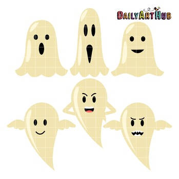 Halloween Cute Ghosts Clip Art - Great for Art Class Projects!