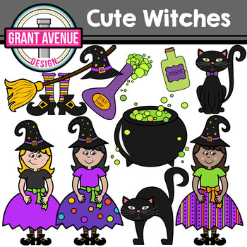 Cute Witches Halloween Clipart