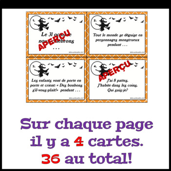 Halloween DEVINETTES (36 Task Cards) French Vocabulary Activity Game