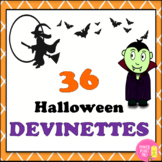 Halloween DEVINETTES (36 Task Cards) French Vocabulary Act