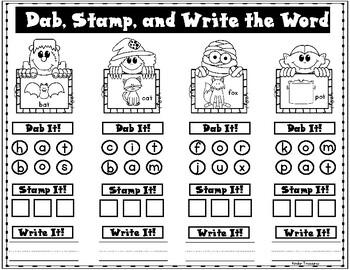 Halloween Dab, Stamp, and Write CVC Words