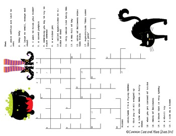Halloween Day Activities Just for Fun Pack word search and crossword color she