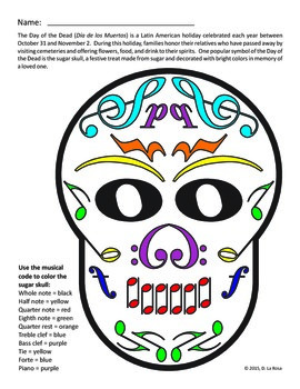Halloween/Day of the Dead Music Symbols Coloring Page