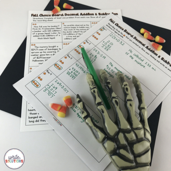 Halloween Decimal Addition and Subtraction Activity