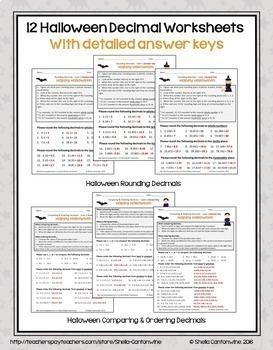Halloween Decimal BUNDLE (Worksheets, Task Cards, and Game)