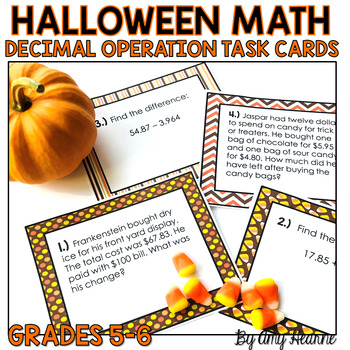 Decimal Operation Task Cards: Halloween Themed