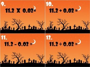 Halloween Decimal Task Cards