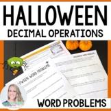 Halloween Decimal Operations Word Problems