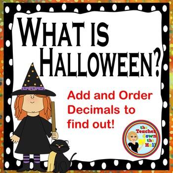 Halloween Math - Add then Order Decimals ( A Following Written Directions Quiz)