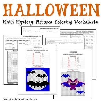 Halloween Decimals Coloring Worksheets