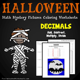 Adding Subtracting Dividing Multiplying Decimals, Halloween Decimal Operations