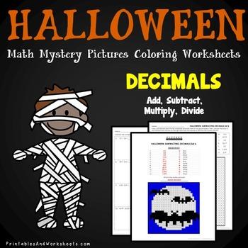 Adding Subtracting Dividing Multiplying Decimals, Halloween Decimal  Operations