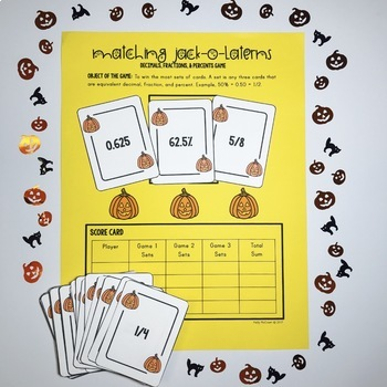 Halloween Decimals, Fractions, & Percents Game
