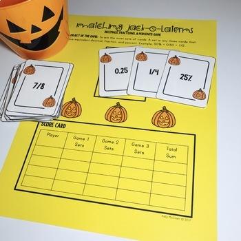 Halloween Decimals Fractions Percents Game
