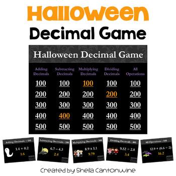 Halloween Decimal Game - Similar to Jeopardy