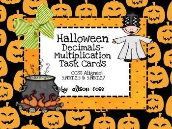 Halloween Decimals-Multiplication Task Cards