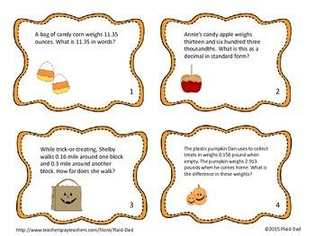Halloween Decimals Task Cards